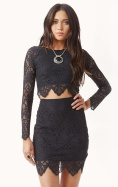 midnight lace crop top by FOR LOVE AND LEMONS #planetblue