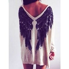 Choies White Angel Wings Print V Neck Loose Knitted Jumper