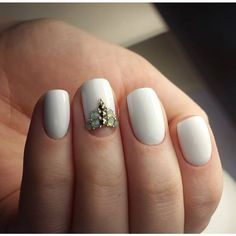 Beautiful evening nails, Evening nails, Festive nails, Half moonnails with rhinestones, Nails ideas 2016, Party nails, Plain nails, Romantic nails