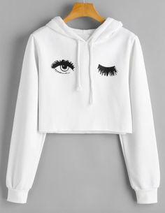 Blink One Eye Print Crop. Hoodie Hoodies For Teens // Cute Hoodies // Hoodies Womens // Hoodie Outfit // Hoodie Cool // Hoodie Aesthetic // Hoodie Sweatshirt // Cropped Hoodies // Crop Top Hoodie, Cropped Hoodie, White Hoodie, Hoodie Outfit, Sweater Hoodie, Outfit Jeans, Girl Outfits, Casual Outfits, Cute Outfits