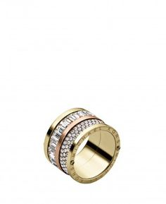 Michael Kors Pave Barrel Two Tone Mixed Ring Yellow Rose Gold From Our Women S Rings Range At John Lewis Partners