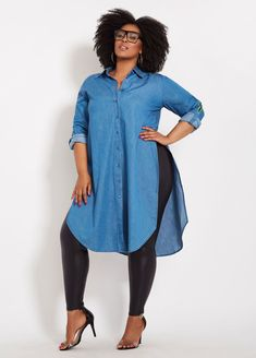 Denim Duster With Side Taping size fashion for women Plus Size Denim Duster With Side Taping Curvy Fashion, Look Fashion, Fashion Models, Girl Fashion, Fashion Outfits, Plus Fashion, Womens Fashion, Fashion Trends, Fashion Stores
