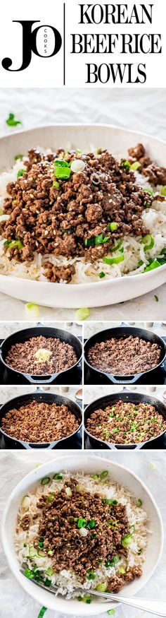 These Korean Beef Rice Bowls can be on your dinner table in only 20 minutes! We're talking delicious, quick, easy, and budget-friendly dinner! #koreanbeef via @jocooks