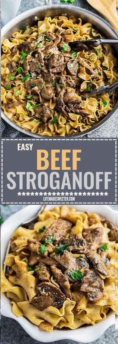 Easy Beef Stroganoff has all the delicious flavors you love about this classic comfort food with tender steak coated in a creamy & delicious mushroom sauce. Best of all made entirely in just ONE PAN / POT making it perfect for busy weeknights. Beef Dishes, Pasta Dishes, Food Dishes, Main Dishes, One Pot Beef Stroganoff Recipe, Beef Stroganoff With Mushrooms, Meat Recipes, Cooking Recipes, Al Dente