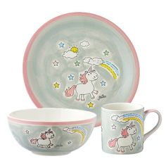 Let your little one's dine in style with this adorable rainbow unicorn breakfast set. This gorgeous hand painted 3 piece set will encourage your children to enjoy meal times.