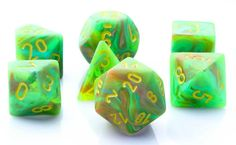 Be the hero of your next RPG adventure with a set of Vortex Dice (Slime Green). This set contains all the classic polyhedral dice you know and love: d4, d6, d8, d10, d%, d12, and d20. Each Vortex die