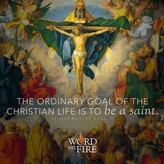 """""""The ordinary goal of the christian life is to be a saint."""" -Bishop Robert Barron"""