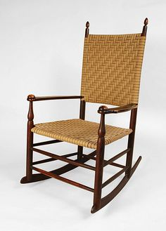 """A fine example of the Mount Lebanon, New York Shaker Chair Shop.  Recently acquired from an old collection, it is in fine condition, retaining an original stain and varnish finish and gold transfer trademark label.  This chair is ready for use.  Old replaced woven cloth taped seat and back.   Circa 1880  H. 38 1/4"""", seat h. 14 3/4""""."""