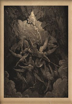 original wood engraving by gustave dore, the mouth of hell, angels and demons, print, Gustave Dore, Gravure Illustration, Illustration Art, Bible Illustrations, Angels And Demons, Fallen Angels, Classical Art, Wood Engraving, Religious Art