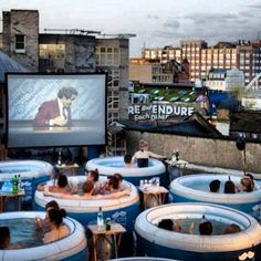 Rooftop jacuzzi cinema in London.
