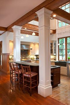 kitchen islands with pillars kitchens with columns design ideas pictures remodel and - Decorative Pillars For Homes