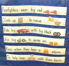 Kids love to go to these simple sentences in the classroom. Fabulous poem to have up for read the room/write the walls. Look at all the high frequency word potential! Community Helpers Kindergarten, Preschool Literacy, School Community, Preschool Themes, Literacy Activities, Kindergarten Poems, Fire Safety Week, Fire Prevention Week, Community Workers