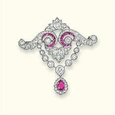 A BELLE EPOQUE RUBY AND DIAMOND BROOCH  Of garland design, the old and rose-cut diamond scrolls with calibré-cut ruby line detail suspending an old-cut diamond collet swag with ruby and diamond cluster pendant, circa 1905, 4.1 cm high