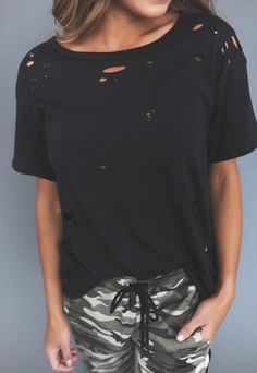 Distressed Tee- Black - Dottie Couture Boutique