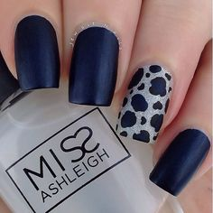 Navy blue and leopard print.