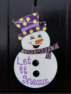 Snowman door hanger,Winter door hanger,LSU christmas door hanger,christmas door decor, christmas wreath by Furnitureflipalabama on Etsy