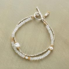 Sterling silver, cultured pearls and touches of 14kt goldfill bring luster and gleam to iridescent moonstones. Toggle clasp. Exclusive. Hand...