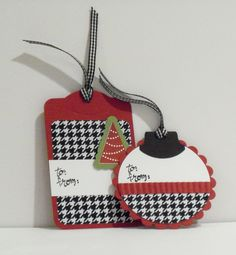"""Houndstooth~Texas Tech's Red & Black Gift Tags!! (These are by+CraftsbyBeth+on+Etsy,+$7.99-in """"Her Alabama Crimson Tide"""" Red!!!"""