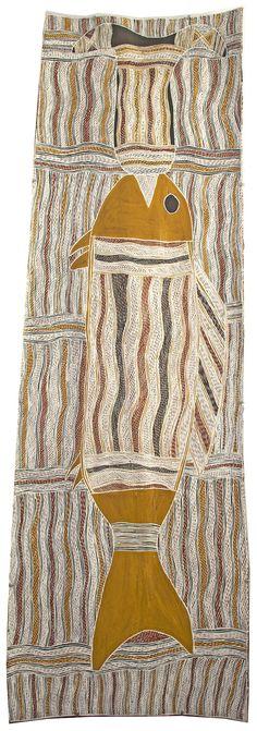 Galuma Maymuru - Noykal - 158 x 50 cm http://www.aboriginalsignature.com/art-aborigene-yirrkala/galuma-maymuru-noykal-158-x-50-cm