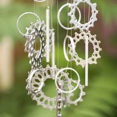 Don't throw out that old rusted bicycle—upcycle it! Remove the chain and gears, and spray-paint them. Use one of the gears as a base, add a few metal rings and some line, and hang your new wind chimes in your garden.