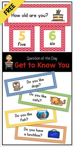 FREE back-to-school questions of the day for preschool, kindergarten, and first grade - perfect for attendance and graphing!