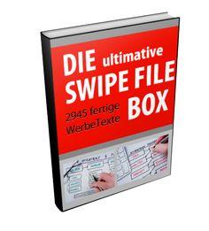 Die ultimative Swipe File Box - In der Swipe File Box findest Du die Texte der besten Werbetexter und Marketing-Experten. Insgesamt 2945 Texte, die Du sofort übernehmen und einsetzen kannst. Damit ersparst Du Dir stundenlange Arbeit und hast Deine Texte ruck-zuck fertig gestellt!