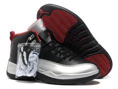 Jordan 12 basketball shoes silver red black