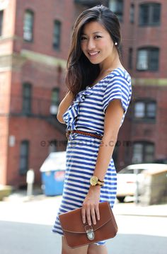 Adorable DIY Striped dress from t shirts.