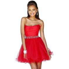 Pre-owned Sherri Hill Red Prom Homecoming Pretty Chic Glamorous Party... ($199) ❤ liked on Polyvore featuring dresses, red, short prom dresses, red prom dresses, red cocktail dress, short mini skirts and cocktail mini dress