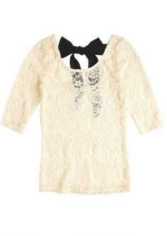Lace Back Tie Long-Sleeve Tee - Delia's $19.50