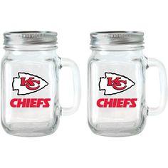 NFL 16 oz Kansas City Chiefs Glass Jar with Lid and Handle 2pk