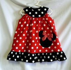 Minnie Mouse Dress Applique Ruffled Dress Children Clothing Red Size 1, 2, 3, 4, 5, Spring Summer