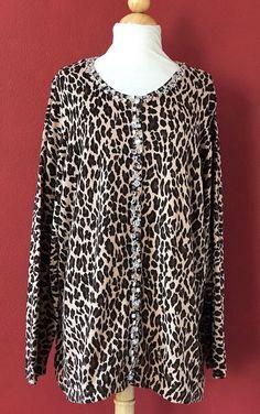 QUACKER FACTORY Brown Cheetah Embellished Knit Cardigan Sweater Size 2X PLUS NEW #QUACKERFactory #Cardigan