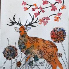 Lot de 2 cartes d'art doubles anniversaire fête remerciement le cerf, les coquelicots faites main automne