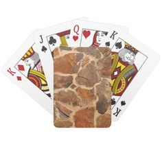 Rustic Stone Wall Structure Geology Warm Glow Playing Cards