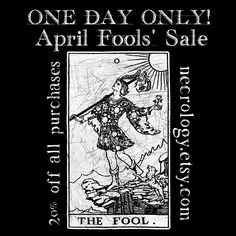 """This is no joke! One day only, get 20% off on all purchases at the Etsy store. Just use code """"thefool"""" at checkout to tap into your unlimited potential ;) Necrology.etsy.com #oddities #oddity #curio #curiosity #curiosities #bonejewelry #taxidermy #cabinetofcuriosities #sale #Etsysale #shopsmall #vultureculture #deadthings #deadwhenwemet #mementomori #crueltyfree #handmade #boneart"""