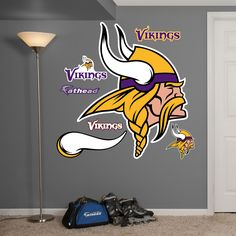 This Fathead Minnesota Vikings Logo wall decals are life-size high definition images that you stick on any smooth suface. You can move them and reuse them and they are safe for walls. This Fathead Wal