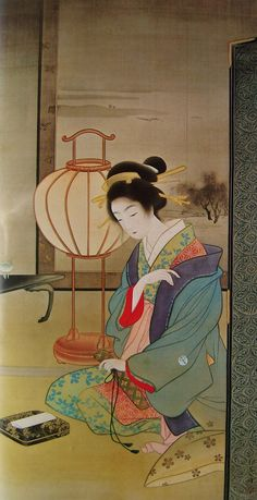 Uemura Shōen - pseudonym for the Japanese painter Uemura Tsune. Watercolor on silk Shōen is primarily known for her bijinga paintings of beautiful women in the nihonga style, although she. Illustrations, Illustration Art, Japan Painting, Art Japonais, Japanese Prints, Japan Art, Japanese Culture, Woodblock Print, Chinese Art