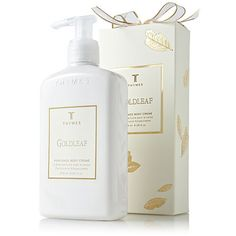 Thymes Gold Leaf Body Cream! Premium Packaging. I received this in my stocking this last year. Unwrapping the box to find imprinted, gold leaves made me fall in love with the lotion before even trying it. Truth is.. the lotion was OK, but the packaging still makes me love the lotion.