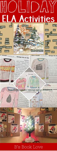 Christmas ELA activities, Holiday English activities, Ugly Christmas Sweater, winter writing, winter poetry