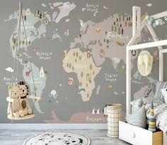 Safari Cartoon World Map Nursery Wallpaper, Handpainted World Map Cartoon Animals Baby' Room Kids' Room Wall Murals Map Nursery, Nursery Wallpaper, Kids Wallpaper, Animal Wallpaper, Nursery Decor, Wallpaper Childrens Room, Nursery Wall Murals, Nursery World, Mural Wall