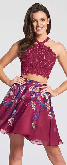 Crop top short homecoming dress. Two-piece lace and chiffon short dress set, lace halter cropped top with back straps and printed chiffon A-line skirt.
