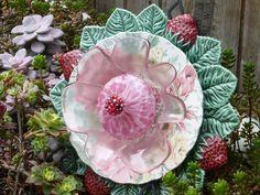 Plate Flower    #562  Drought Resistant.     Garden Yard Art glass and ceramic plate flower