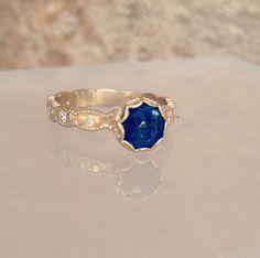 Custom engagement ring by Megan Thorne. #beautiful #saphire