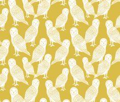 Halloween Owl - Mustard by Andrea Lauren  fabric by andrea_lauren on Spoonflower - custom fabric