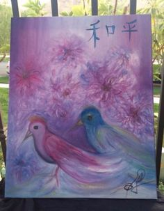 Modern-Chinese-Peace-Asian-Art-Purple-Chrysanthemum-Birds-Oil-by-Paula-Gabay