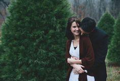 christmas tree farm. One year photo shoot!   Laura Benitz Photography.  Green Wedding Shoes.