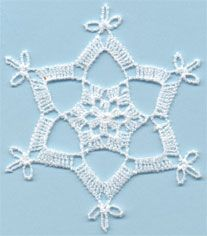 Snowflake 11 - free standing lace machine embroidery, designed to look like crochet; looks better with heavier thread or 2 threads through the needle Crochet Snowflake Pattern, Crochet Stars, Christmas Crochet Patterns, Crochet Snowflakes, Afghan Crochet Patterns, Thread Crochet, Crochet Motif, Crochet Doilies, Snowflake Craft