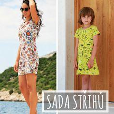 Sada střihů - jednoduché dámské a dětské šaty Short Sleeve Dresses, Dresses With Sleeves, How To Make, Tutorials, Fashion, Tunics, Moda, La Mode, Gowns With Sleeves