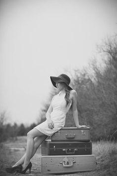 Vintage Suitcase Senior photo. Gorgeous black and white photo
